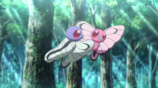 Pokémon the Movie I Choose You Shiny Ash's Butterfree flying away