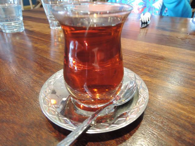 freshly brewed turkish tea;  the turkish tea house