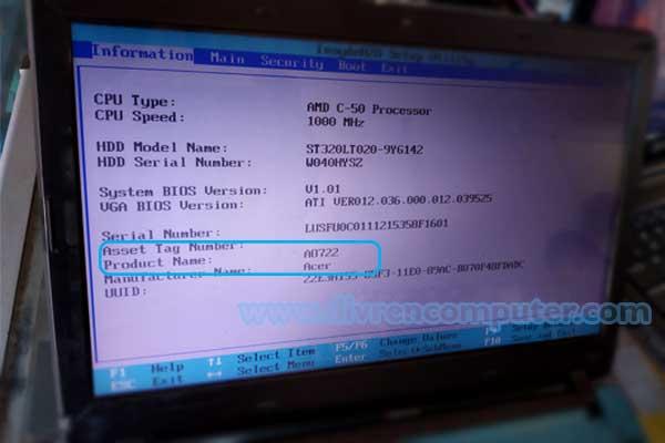 cek tipe laptop, bios, acer 722