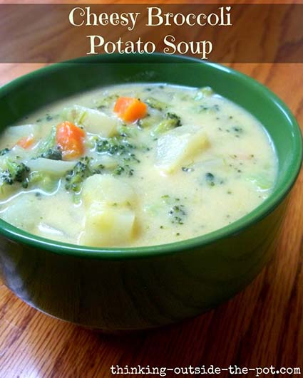 Cheesy Broccoli Potato Soup - Thinking Outside the Pot