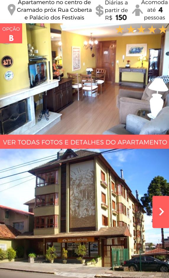 Apartamento Temporada Gramado próximo Rua Coberta