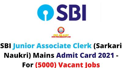Sarkari Exam: SBI Junior Associate Clerk (Sarkari Naukri) Mains Admit Card 2021 - For (5000) Vacant Jobs