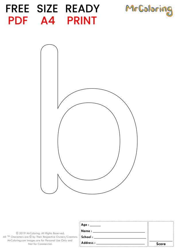 Alphabet letter b coloring pages lowercase round for kids
