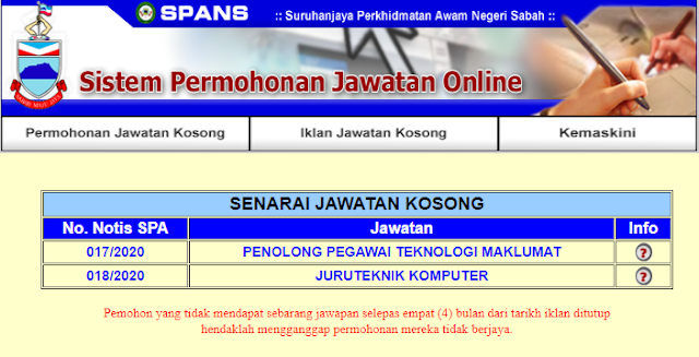 Jawatan Kosong Terkini di Suruhanjaya Perkhidmatan Awam Negeri Sabah (SPANS)