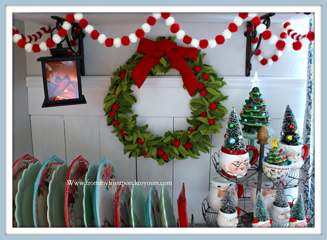 Christmas- Farmhouse -Cottage -Breakfast- Nook-Felt Wreath-Pom Pom Garland-- From My Front Porch To Yours