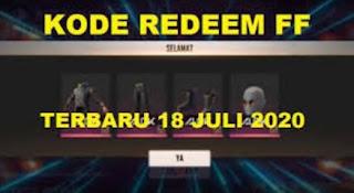 Kode Redeem Free Fire 18 Juli 2020