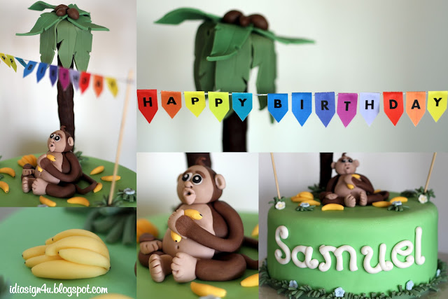 Little Monkey Birthday Cake by ilovedoingallthingscrafty.com