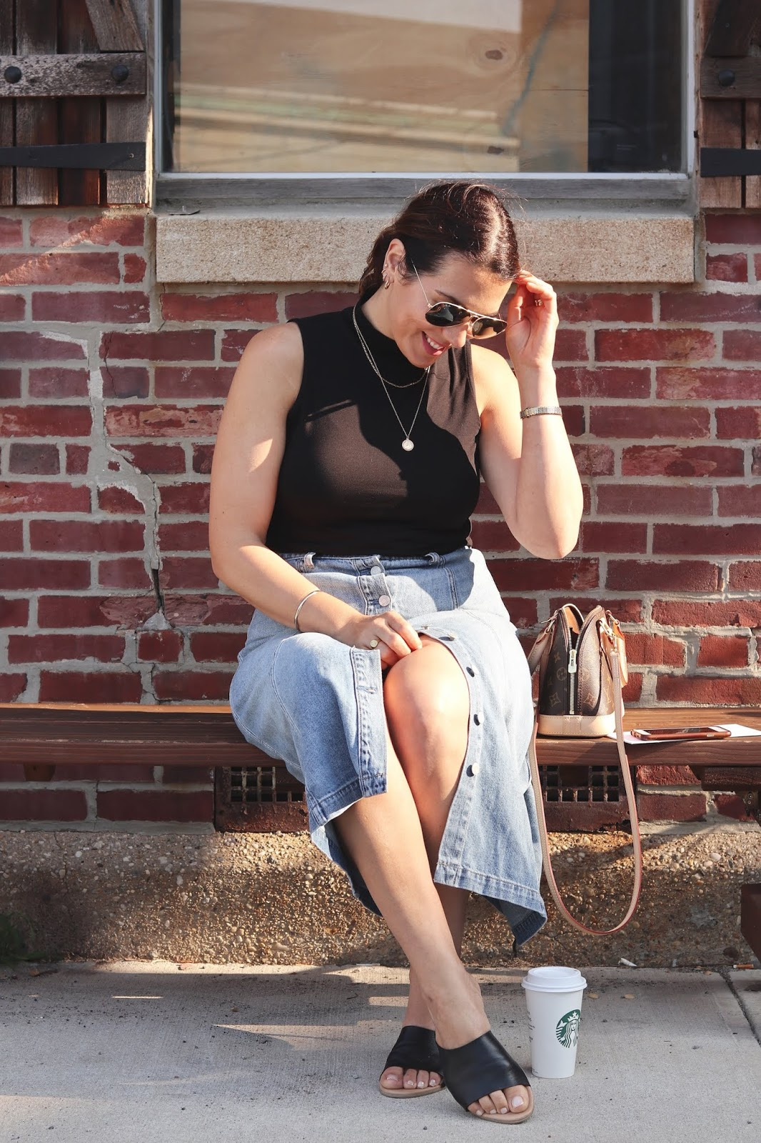 Le Chateau mock neck top and leather sandals denim midi skirt outfit