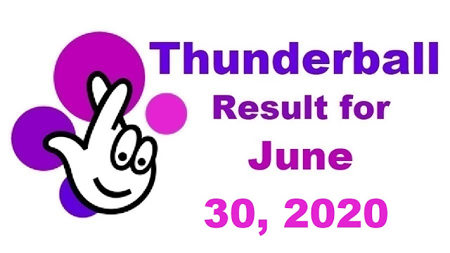 Thunderball Results for Tuesday, June 30, 2020