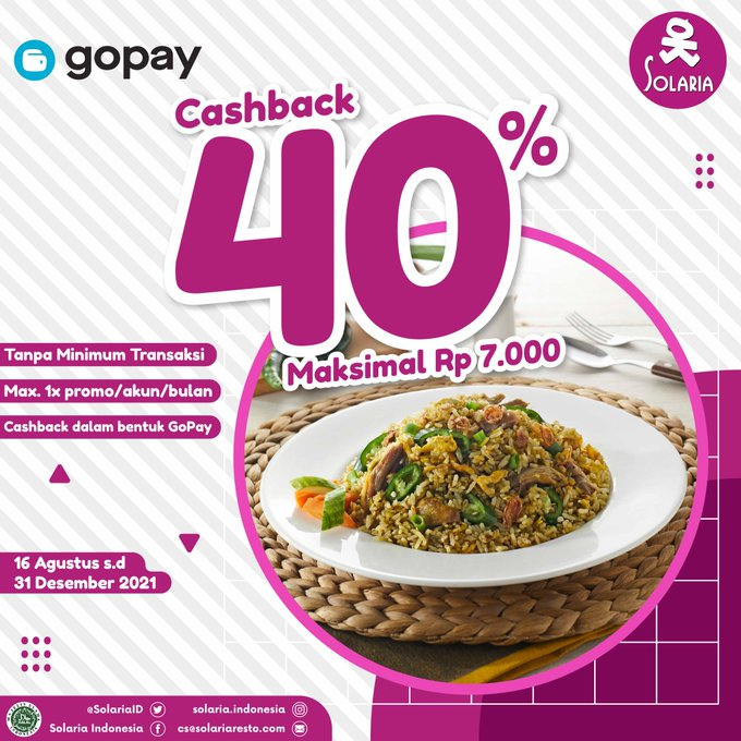 Casback 40% Makan di Solaria Bayar Pakai GoPay (s.d 31 Sept 2021)
