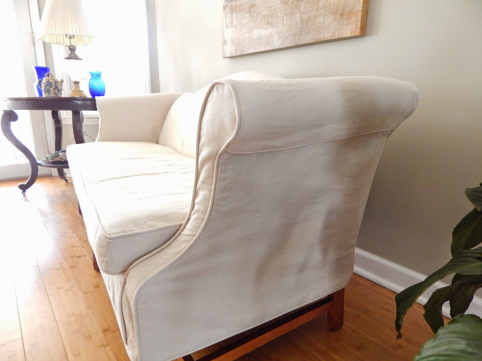 Pam Morris Sews Another Drop Cloth Slipcover