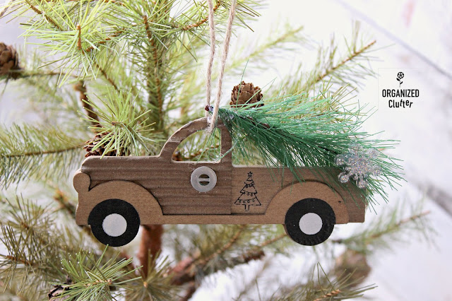 Semi-Homemade Christmas Tree Ornaments #pickuptruck #Dollargeneral #semihomemadeornaments #Christmasornaments #upcycle #Christmasdecor