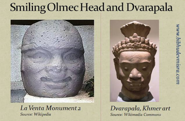 An Olmec Stone head and Dvarapala (door-guardian) with a smiling face
