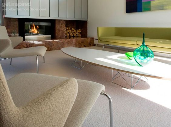 White replica Eames surfboard coffee table - found on Hello Lovely Studio