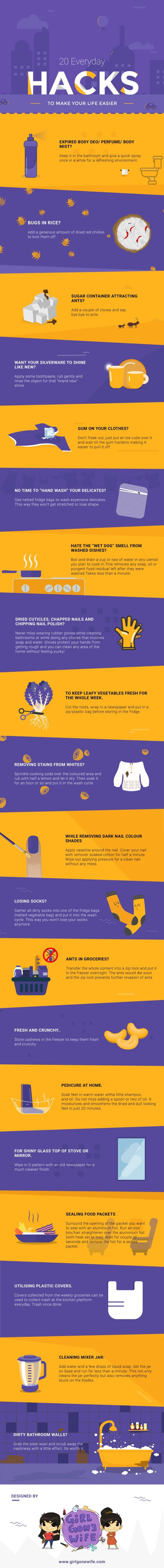 20 Life-Changing Hacks #infographic #Life style #infographics #Infographic #Life Hacks #Life