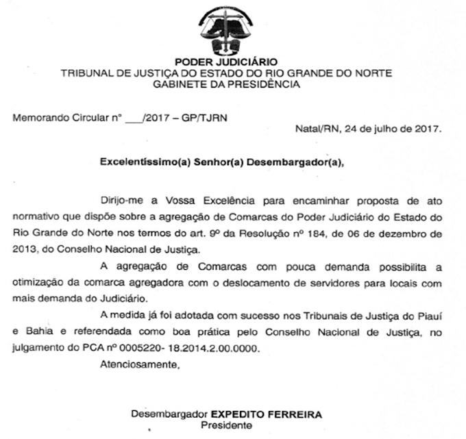 Conforme documento do TJ/RN, a comarca de João câmara vai agregar processos do município de São Bento do Norte.