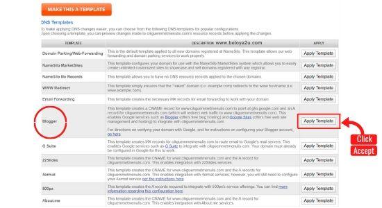 memasukkan domain di blogger
