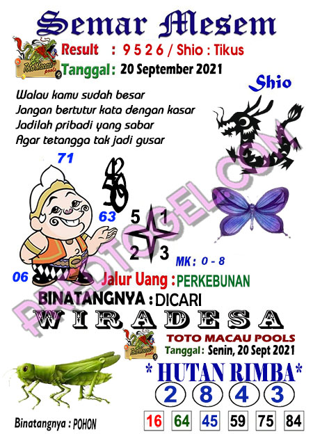 Prediksi Syair Toto Macau Semar Mesem Senin 20-September-2021