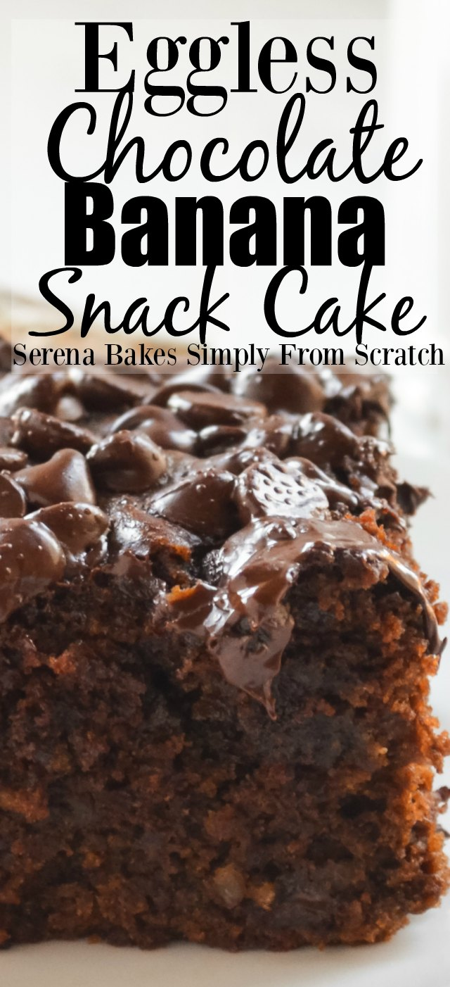 Eggless Chocolate Banana Snack Cake from Serena Bakes Simply From Scratch.