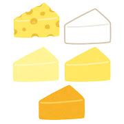 いろいろな三角形のチーズのイラスト