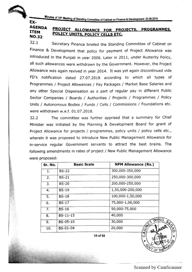 PROJECT ALLOWANCE FOR OFFICERS / OFFICIALS OF  PROJECTS AND PROGRAMMES