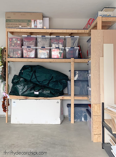 wood shelving for holiday decor garage