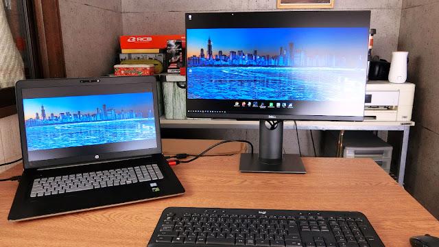 Dell P2421Dの画面の映り込み(日中窓背)画像