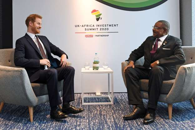 Britain's Prince Harry meets African leaders in London