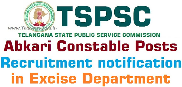 TSPSC,Abkari Police Constable Posts,Excise Department