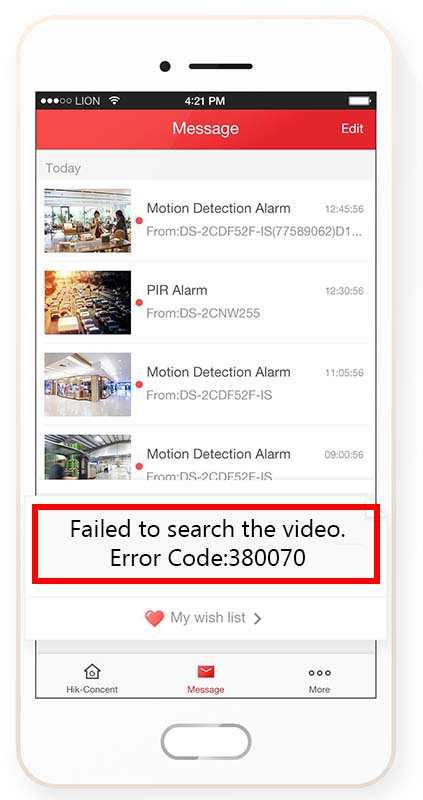 Failed to search the video. Error Code: 380070 (Hik-Connect error)