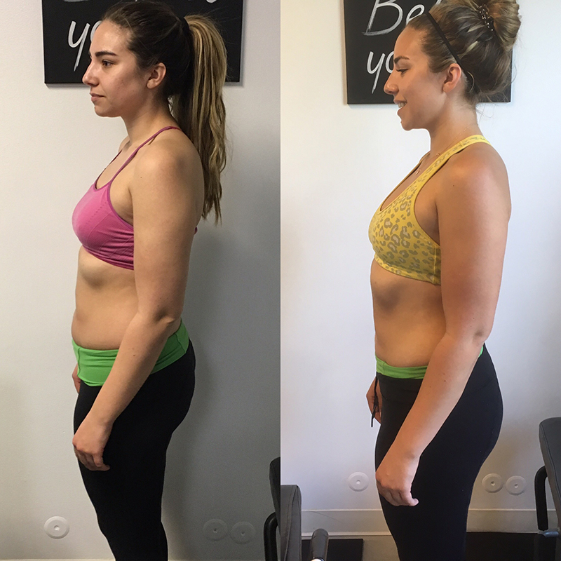 weight training side profile before and after