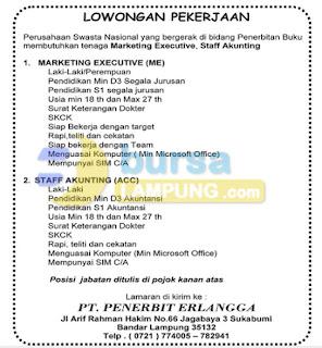 Lowongan Kerja Lampung, Rabu 12 November 2014 di PT. Penerbit Erlangga