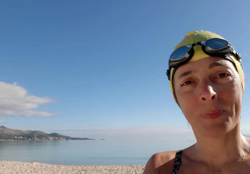 Io dopo il nuoto a Platja de muro
