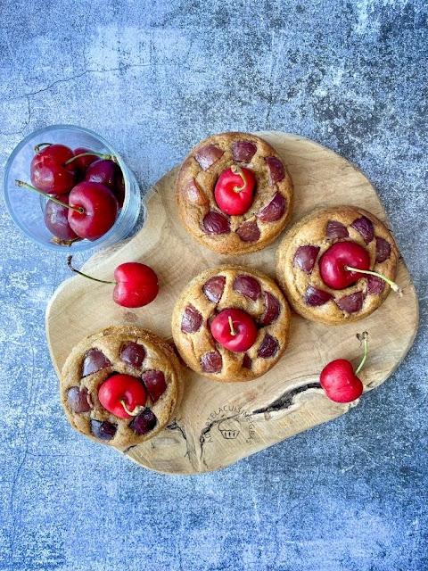 Donuts façon muffin - cerises - Recette facile - IG bas