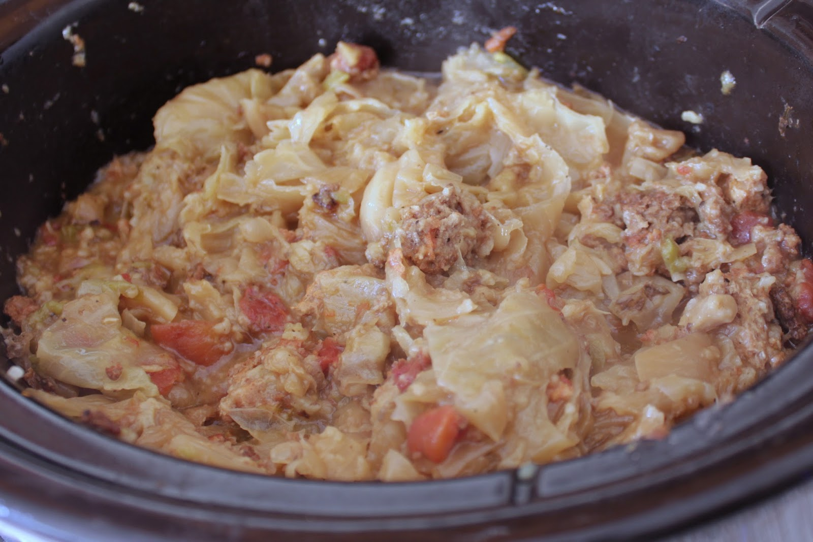 Crockpot deconstructed cabbage rolls
