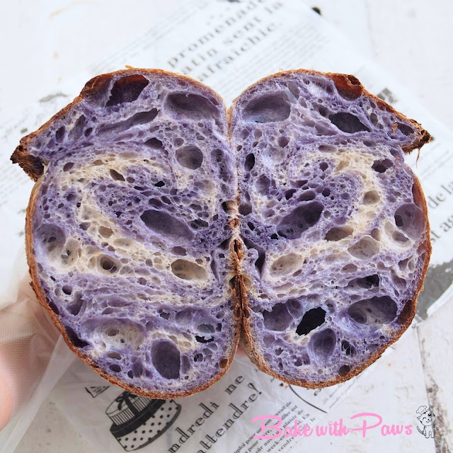 Marbled Butterfly Pea Flower Sourdough Bread