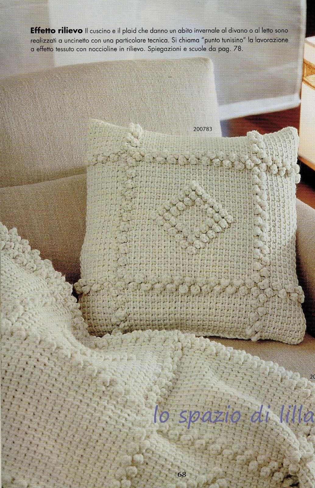 Preferenza lo spazio di lilla: Uncinetto tunisino: il cuscino ed il plaid con  MN22