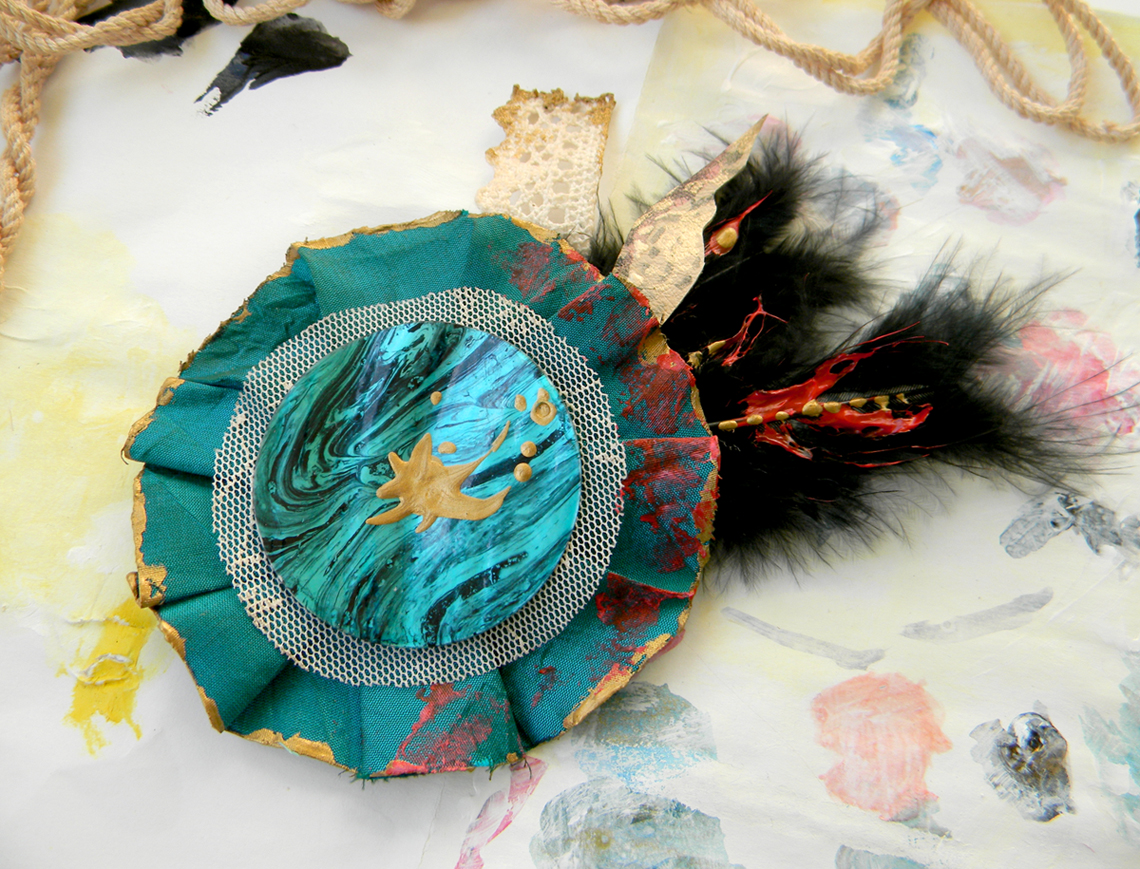 Handmade Brooch Turquoise Fusion