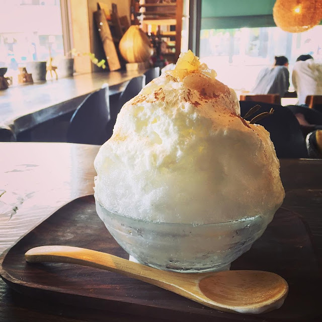 Swan鵝牌極致鵝絨日式刨冰 鵝絨雪花冰 #怪奇鵝絨冰(3):#賀茂茄子鵝絨冰|#京都與峇里島的結合 #當京野菜遇見南國風-unexpected-flavoring-kakigori-kyoto-CafeBaliGasi-tofu-espuma-with-loca-kyoto-egg-plant-syrup-topping--cinnamon-sprinkes