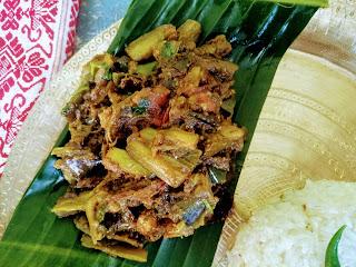 Stir fried egg plant or brinjal with namsing