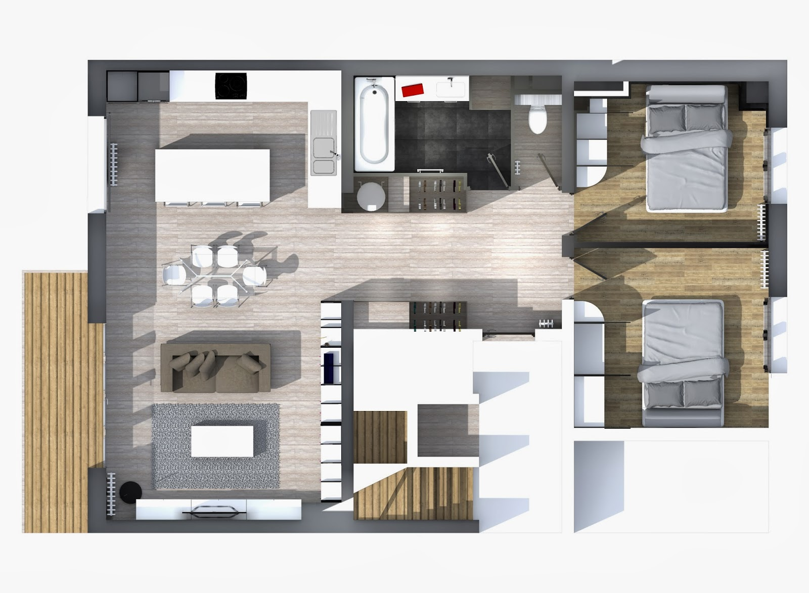 Meuble 3d Cg Architecture Amménagement D 39un Appartement De 80m²