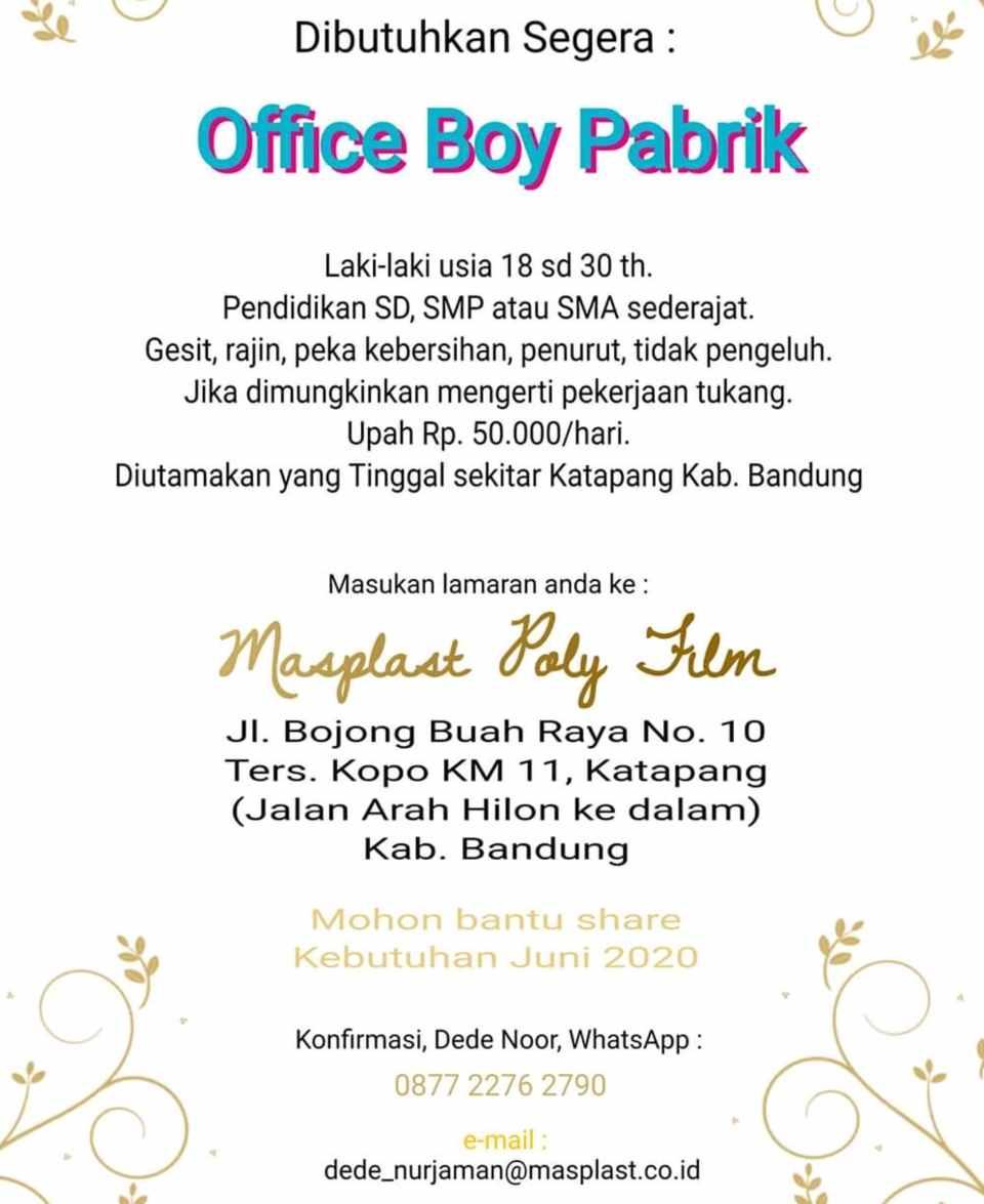 Loker Pt Masplast Poly Film Bandung 2020 Lulusan Smp Sma Smk 2021