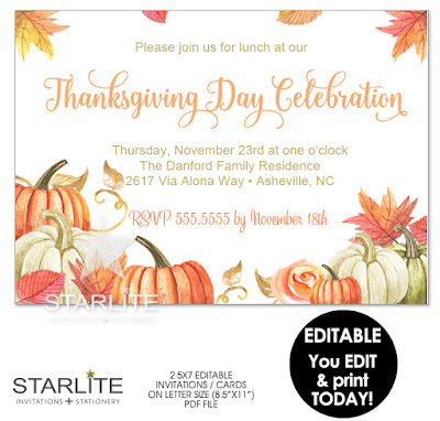 Thanksgiving Invitation Editable Template Instant Download