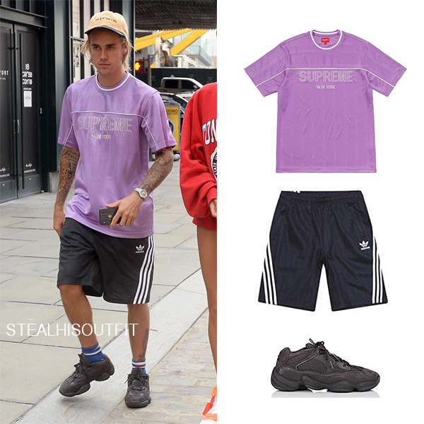 Justin Bieber wears purple t-shirt black shorts adidas supreme casual men style