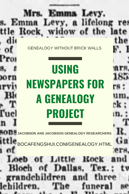 Using Newspapers for a Genealogy Project - Tuchfeld part 13, Jacobson Jacobson Genealogy Researchers