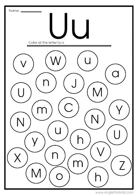 Find letter U worksheet -- printable ESL materials to teach English alphabet