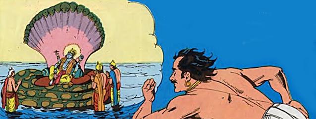 Akrura sees Lord Vishnu under water