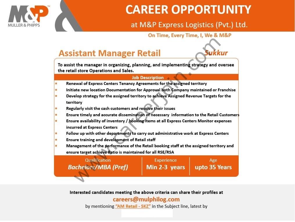 M&P Express Logistics Jobs Assistant Manager Retail