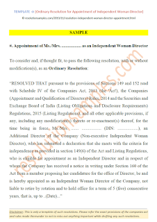 ordinary resolution for appointment of woman independent director