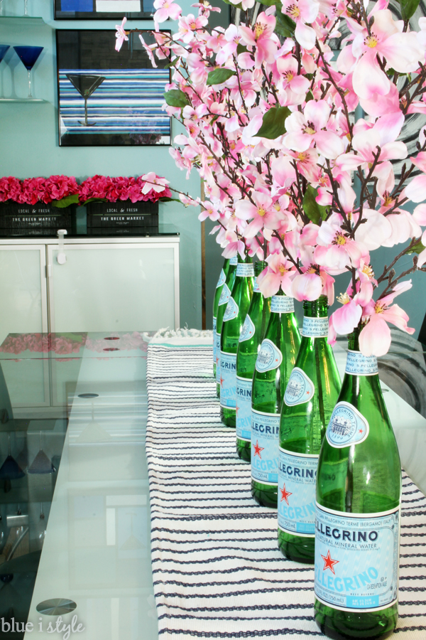 San Pellegrino Bottles as Spring Flower Vases
